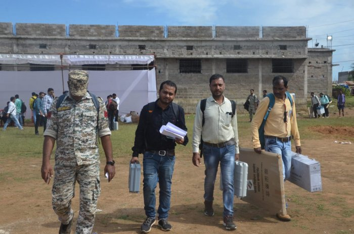 As many as 916 polling personnel have been deployed at these booths, he said, adding that around 70 booths have been categorised as 'hyper-sensitive' and 93 as 'sensitive'. Photo/Twitter (All India Radio News)