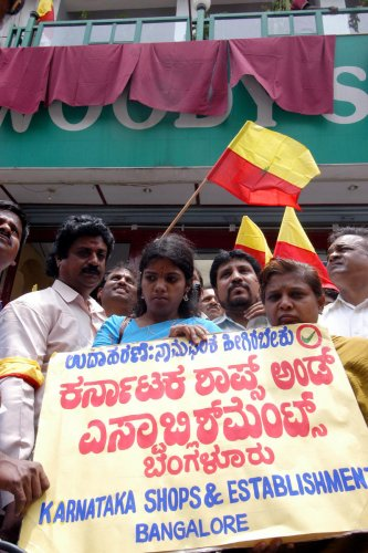 Pro-Kannada activists during a protest for prominent Kannada nameboards. DH FILE PHOTO