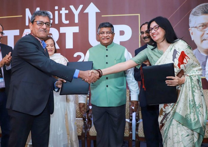 Union Minister for Law & Justice, Communications and Electronics & Information Technology Ravi Shankar Prasad at the MeitY Start-up Summit on Leveraging Technology for Socio-Economic Growth in New Delhi. PIB/PTI Photo