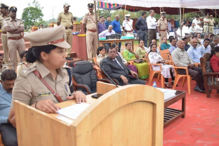 Superintendent of Police Dr Suman D Pennekar speaks at the Police Martyrs' Day programme in Madikeri.