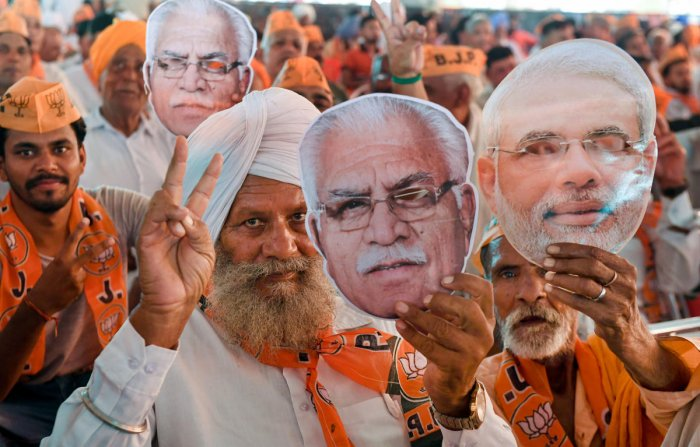 Exit polls, broadcast soon after the polling ended, varied widely in their projection of seats for the rival alliances but an emphatic victory with more than two-third seats for the BJP-led NDA in Maharashtra and Haryana was the common theme. PTI