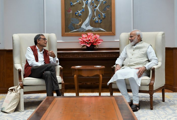 Prime Minister Narendra Modi and Nobel Laureate Abhijit Banerjee. (Photo/Twitter)