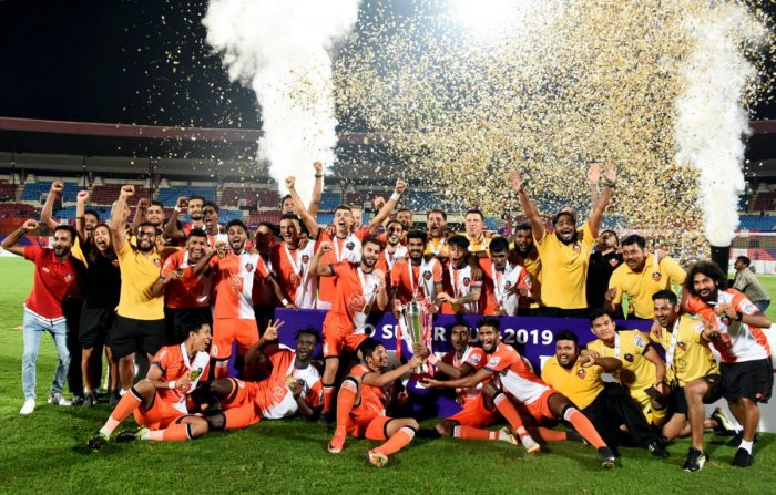 FC Goa players celebrate after beating Chennaiyin FC in the final of the Hero Super cup 2019 football at Kalinga stadium in Bhubaneswar on Saturday, April 13, 2019. PTI file photo