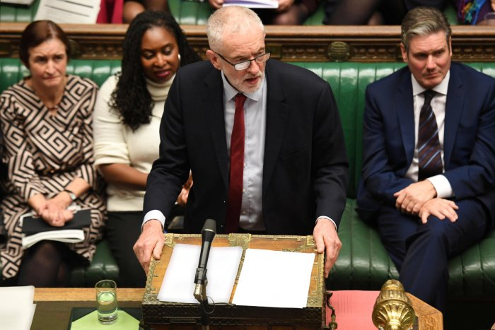 Britain's opposition Labour Party Leader Jeremy Corbyn speaks at the House of Commons in London on October 21, 2019. (©UK Parliament/Jessica Taylor/Handout via REUTERS)