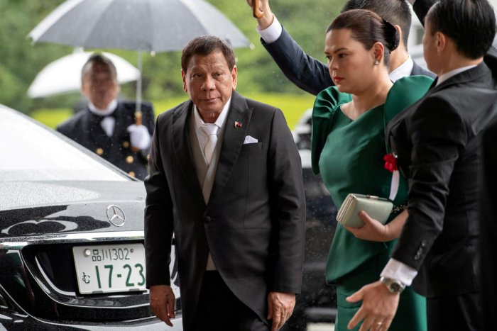 Philippines President Rodrigo Duterte arrives to attend the enthronement ceremony of Japan's Emperor Naruhito in Tokyo. Reuters
