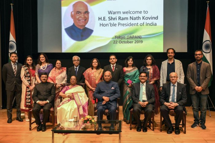President Ram Nath Kovind, First Lady Savita Kovind, Ambassador of India to Japan Sanjay Kumar Verma and other dignitaries pose for a group photograph during an Indian community reception, in Tokyo. PTI