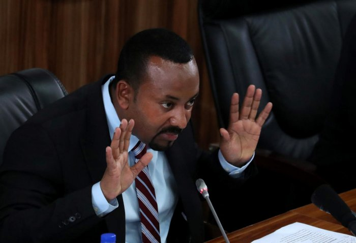 Ethiopia's Prime Minister Abiy Ahmed speaks during a session with the Members of the Parliament in Addis Ababa, Ethiopia, October 22, 2019. (REUTERS)