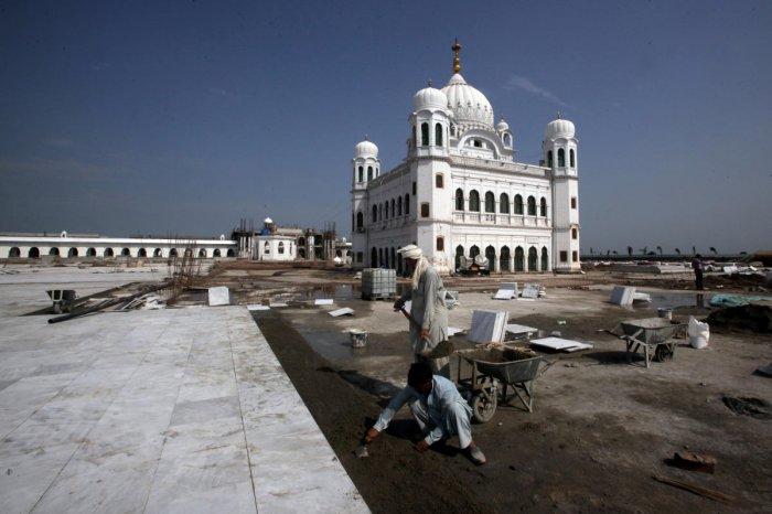 Gurdwara Darbar Sahib, which will be open this year for Indian Sikh pilgrims, in Kartarpur, Pakistan (Reuters Photo)