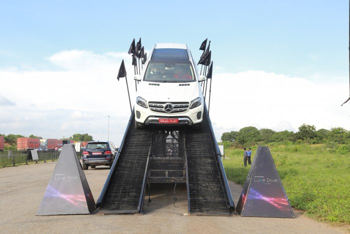 Participants were allowed to experience the off-road capabilities of Benz SUVs, by being driven through makeshift obstacles that simulate situations in the real world.