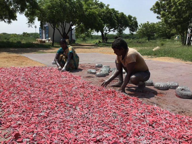 The fireworks' industry is estimated to lose anywhere between Rs 800 to Rs 1,600 crore this year, due to the shutdown from mid-November 2018 to mid-March 2019. (DH Photo)