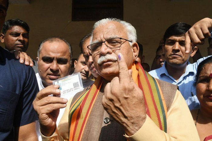 Manohar Lal Khattar is confident of a BJP victory in Haryana. PTI file photo