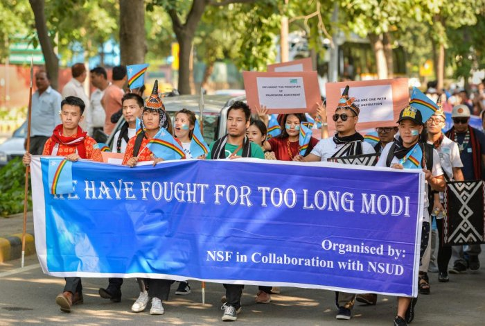 Delhi based students from Nagaland stage a protest march demanding solution to the issue of Naga peace talks, and a decision on the framework agreement, in New Delhi on Sept. 25, 2019. (PTI Photo)