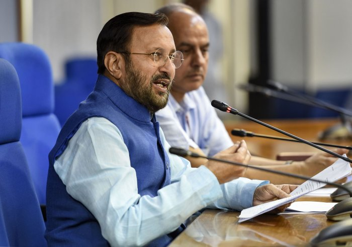 Union Minister Prakash Javadekar briefs the media on cabinet decisions, in New Delhi. (PTI Photo)