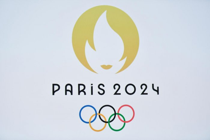 This picture taken on October 21, 2019 shows a logo during a logo presentation ceremony for Paris 2024 Olympic Games at the Grand Rex cinema in Paris. (Photo by STEPHANE DE SAKUTIN / AFP)