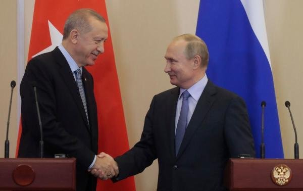 Russian President Vladimir Putin and his Turkish counterpart Tayyip Erdogan. (AFP photo)