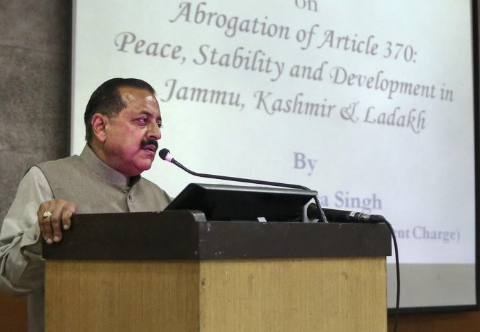 Jitendra Singh after meeting with the group said the decision to remove Articles 370 and 35A of the Constitution from Jammu and Kashmir in August this year was a historic decision. (PTI File Photo)