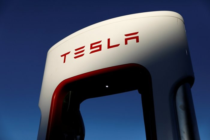 Tesla super chargers are shown in Mojave, California, US. (Reuters Photo)