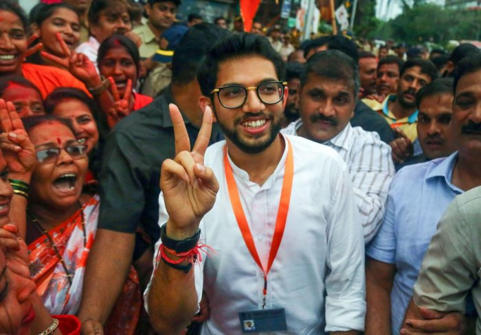 Yuvasena Chief Aaditya Thackeray outside counting centre after winning the assembly elections, Thursday, Oct. 24, 2019. (PTI Photo)