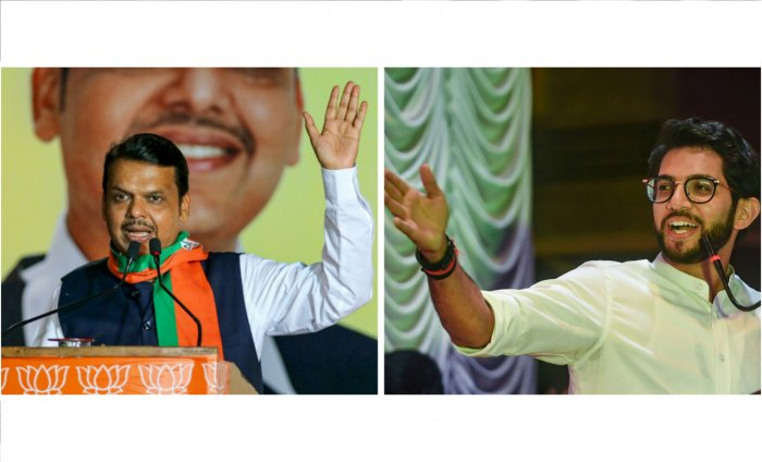 BJP's Devendra Fadnavis (L) and Shiv Sena's Aaditya Thackeray (R)