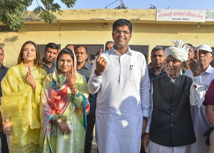 Jannayak Janata Party (JJP) leader Dushyant Chautala, his wife Meghna Chautala and others. (PTI File Photo)