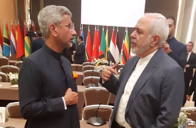 """""""Catching up with Iranian Foreign Minister @JZarif before the #NAM Ministerial begins,"""" Jaishankar tweeted."""