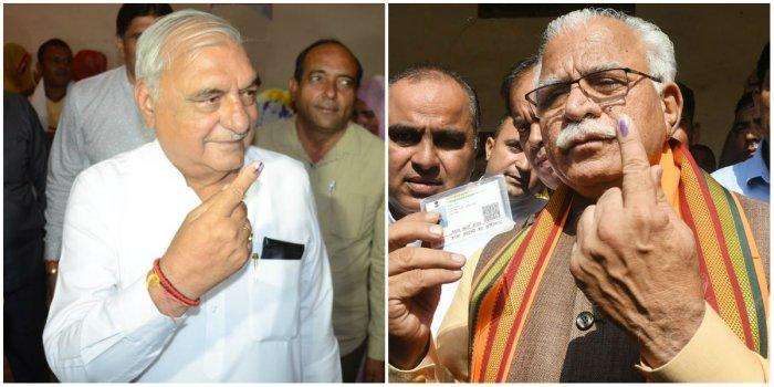 Congress' Bhupinder Singh Hooda (L) and BJP's Manohar Lal Khattar (R)