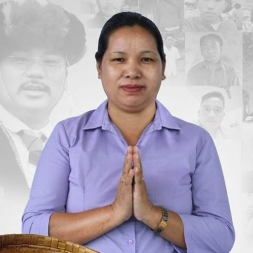 Chakath Aboh, widow of MLA Tirong Aboh, who was killed by militants in May. Photo/Twitter (@ChownaMeinBJP)