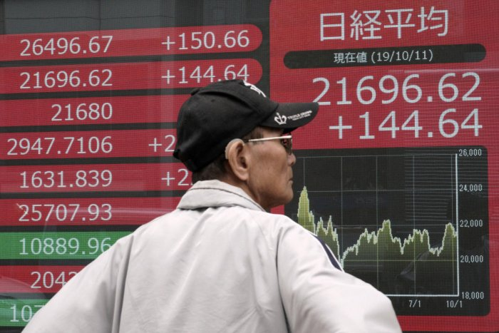 The Nikkei benchmark share average ended up 0.55% at 22,750.60. It earlier rose to 22,780.99, the highest since Oct. 18, 2018. So far it is up 13% for the year. AP/PTI File photo