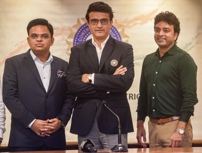 BCCI's new President Saurav Ganguly with Secretary Jai Shah and Treasurer Arun Singh Dhumal after a press conference at BCCI headquarters in Mumbai. PTI