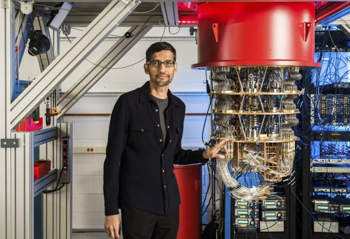 This undated handout image obtained October 23, 2019 courtesy of Google shows Sundar Pichai with one of Google's quantum computers in the Santa Barbara lab. (Photo by HO / GOOGLE / AFP)