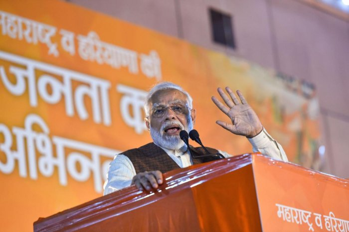 Prime Minister Narendra Modi addresses his supporters after the party's victory in both Haryana and Maharashtra Assembly polls, at BJP HQ, in New Delhi, Thursday, Oct 24, 2019. (PTI Photo/Arun Sharma)