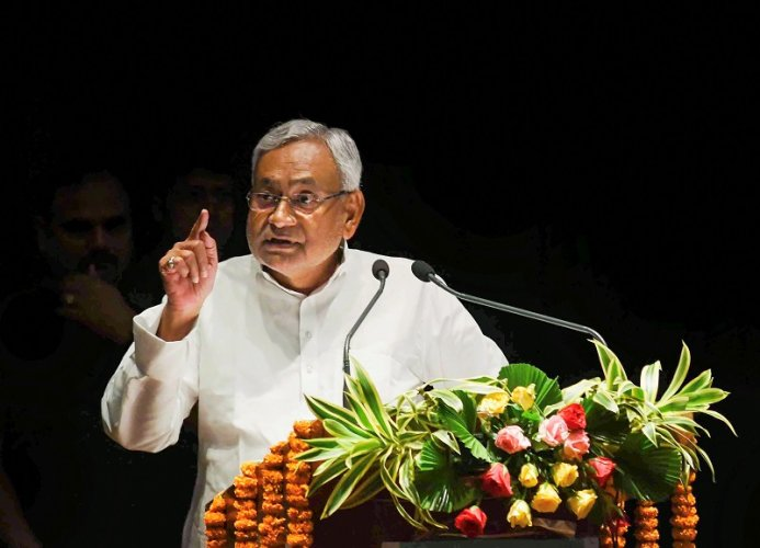 Bihar Chief Minister Nitish Kumar speaks during the International Conference on Crop Residue Management in Patna. (PTI Photo)