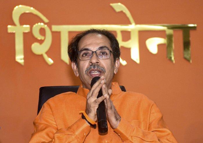 Shiv Sena chief Uddhav Thackeray speaks during a press conference at Sen Bhavan in Mumbai. (PTI Photo)