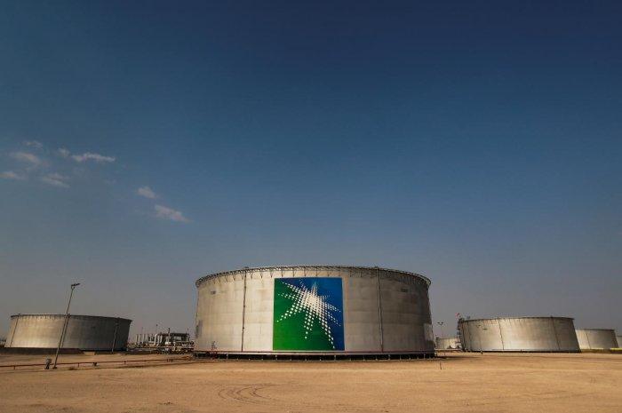 A view shows branded oil tanks at Saudi Aramco oil facility (Reuters Photo)