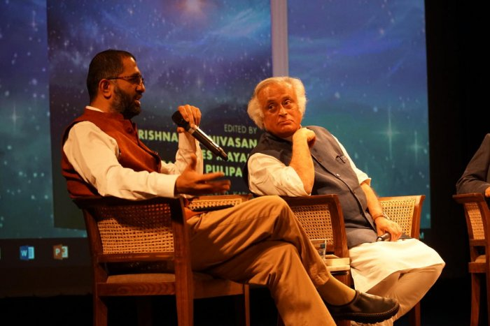 Nitin Pai, founder of the think-tank Takshahila Institution, and MP Jairam Ramesh at the launch of the book 'Values in Foreign Policy' in Bengaluru recently.