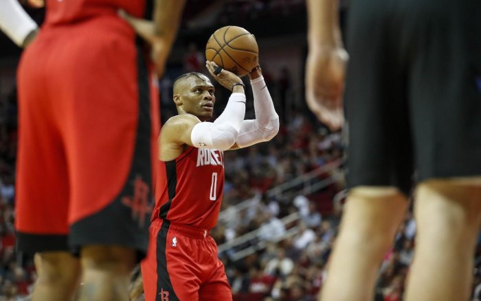 Russell Westbrook #0 of the Houston Rockets shoots a free throw in the second half against the Milwaukee Bucks at Toyota Center (AFP Photo)