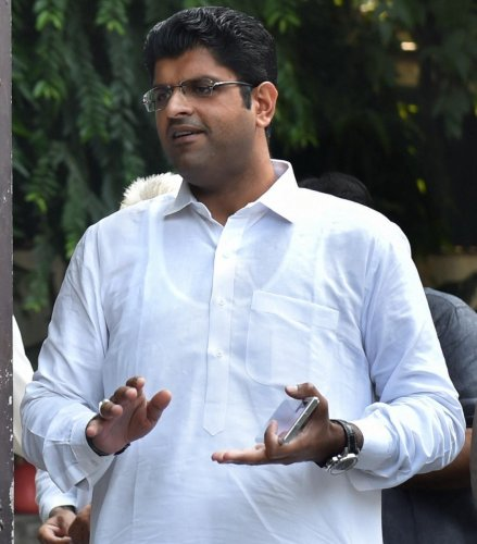 Jannayak Janata Party leader Dushyant Chautala before a meeting with newly elected party MLAs, at his residence in New Delhi, Friday, Oct. 25, 2019. (PTI Photo)