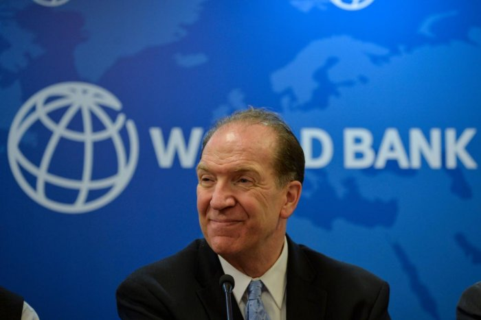 World Bank President David Malpass looks on during a press conference at the World Bank office in New Delhi on October 26, 2019. (Photo by Sajjad HUSSAIN / AFP)