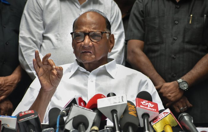 NCP president Sharad Pawar addresses the media at his residence, in Mumbai. (PTI Photo)