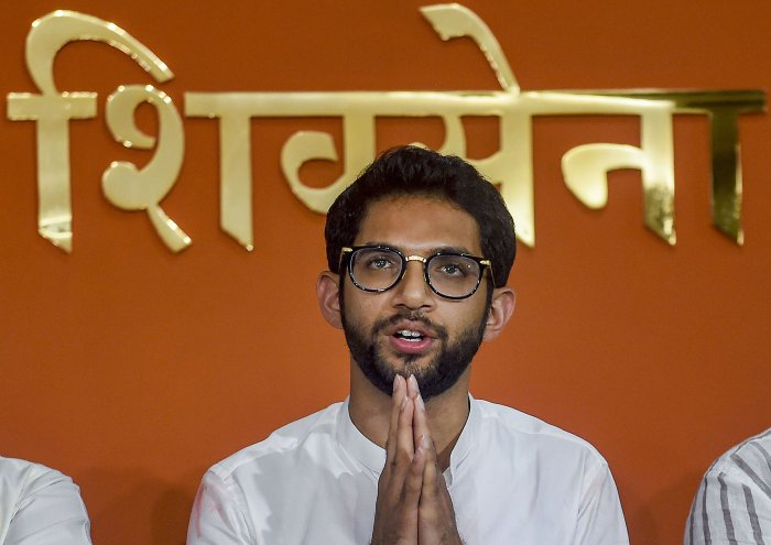 Shiv Sena leader Aditya Thackeray during a press conference at Sena Bhavan in Mumbai. (PTI Photo)