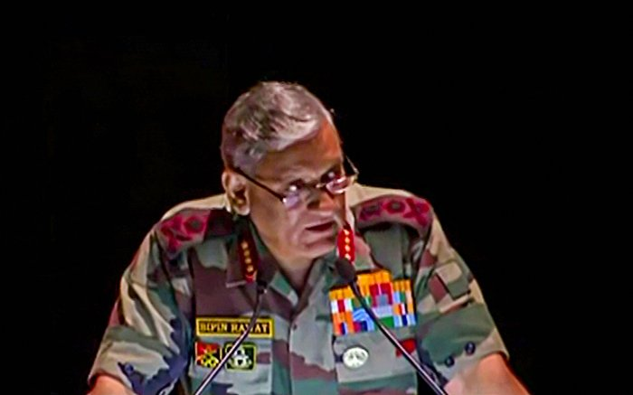 Army Chief Bipin Rawat delivers a lecture at the KM Cariappa Memorial Lecture in New Delhi. (PTI Photo)
