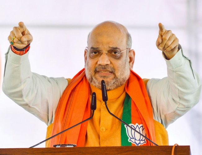 Home Minister Amit Shah addresses a public meeting ahead of Maharashtra Assembly election, in Karad. (PTI Photo)