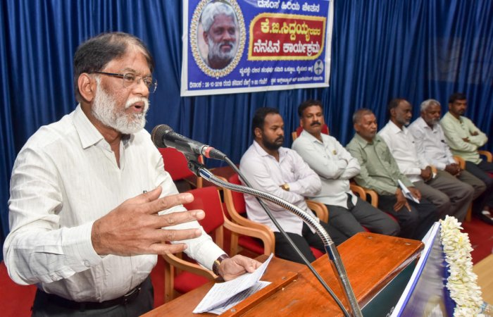 Writer S Tukaram speaks at a memorial programme of poet-Dalit activist K B Siddaiah, organised by the Union of Dalit Sangharsh Samitis, in Mysuru on Saturday. dh photo