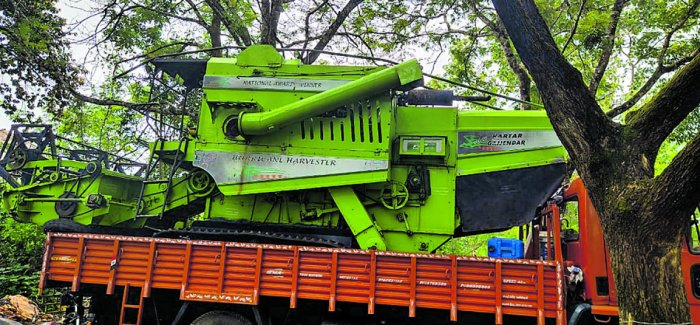 The harvester waiting to be put to use at Saibrakatte in Udupi. DH Photo