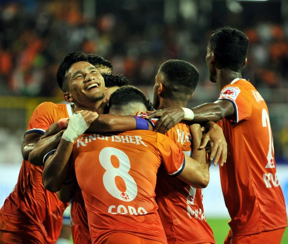 FC Goa player celebrate after their win against Chennayin FC in the 4th match of the 6th edition of the ISL played at Nehru Stadium, Fatorda, Goa, Wednesday, Oct. 23, 2019. (PTI Photo)