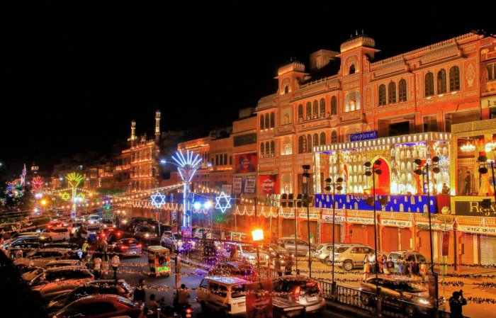 A illuminated view of the city on the eve of Diwali Festival, in Jaipur. (PTI Photo)