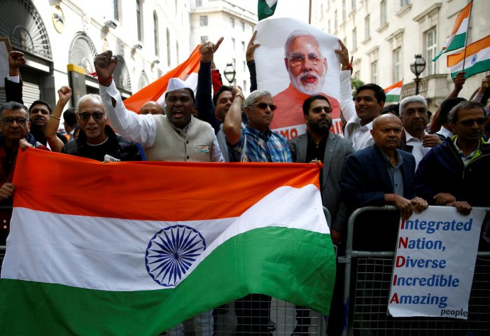 Demonstrators against the scrapping of the special constitutional status in Kashmir, outside the Indian High Commission in London. (Reuters Photo)