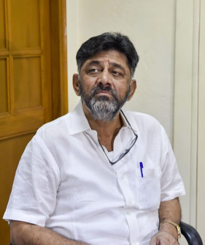 Karnataka Congress leader D K Shivakumar at AICC headquarters. (PTI Photo)
