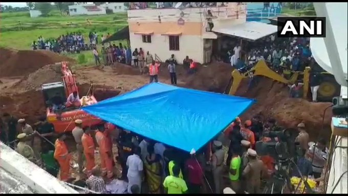 The child, who fell into the 600 ftborewellwhile playing near his house at Nadukattupatti on Friday evening, was initially struck at a depth of 35 feet but drifted further to over 90 feet with efforts to rescue him commencing last evening. Photo/ANI