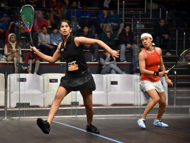 Joshna, ranked 12th in the world, is set to play second seed Nour El Sherbini of Egypt in the round of 16 late on Monday night. Photo/Twitter (@joshnachinappa)